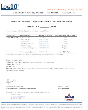 Certificate of analysis for PRE-Liminate