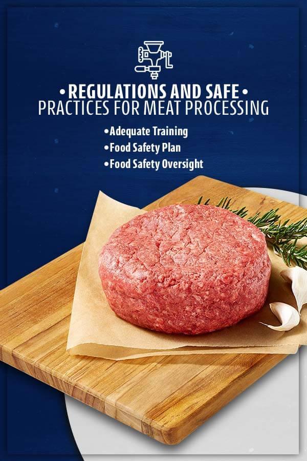 A raw meat patty on a cutting board
