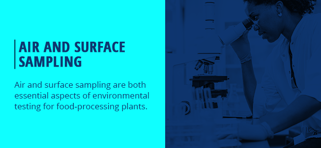 Air and surface sampling in processing plants