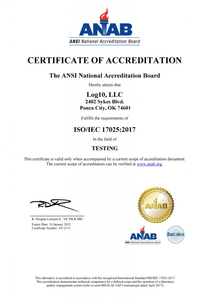 ISO/IEC certificate of accreditation in the field of testing